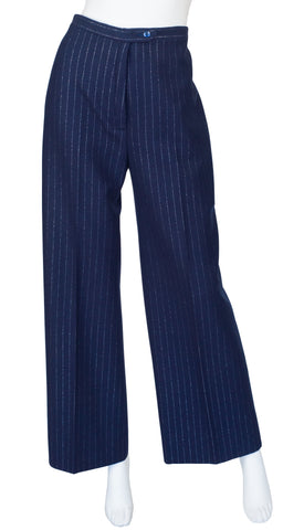 1970s Metallic Pinstripe Navy Wool High-Waisted Wide-Leg Trousers