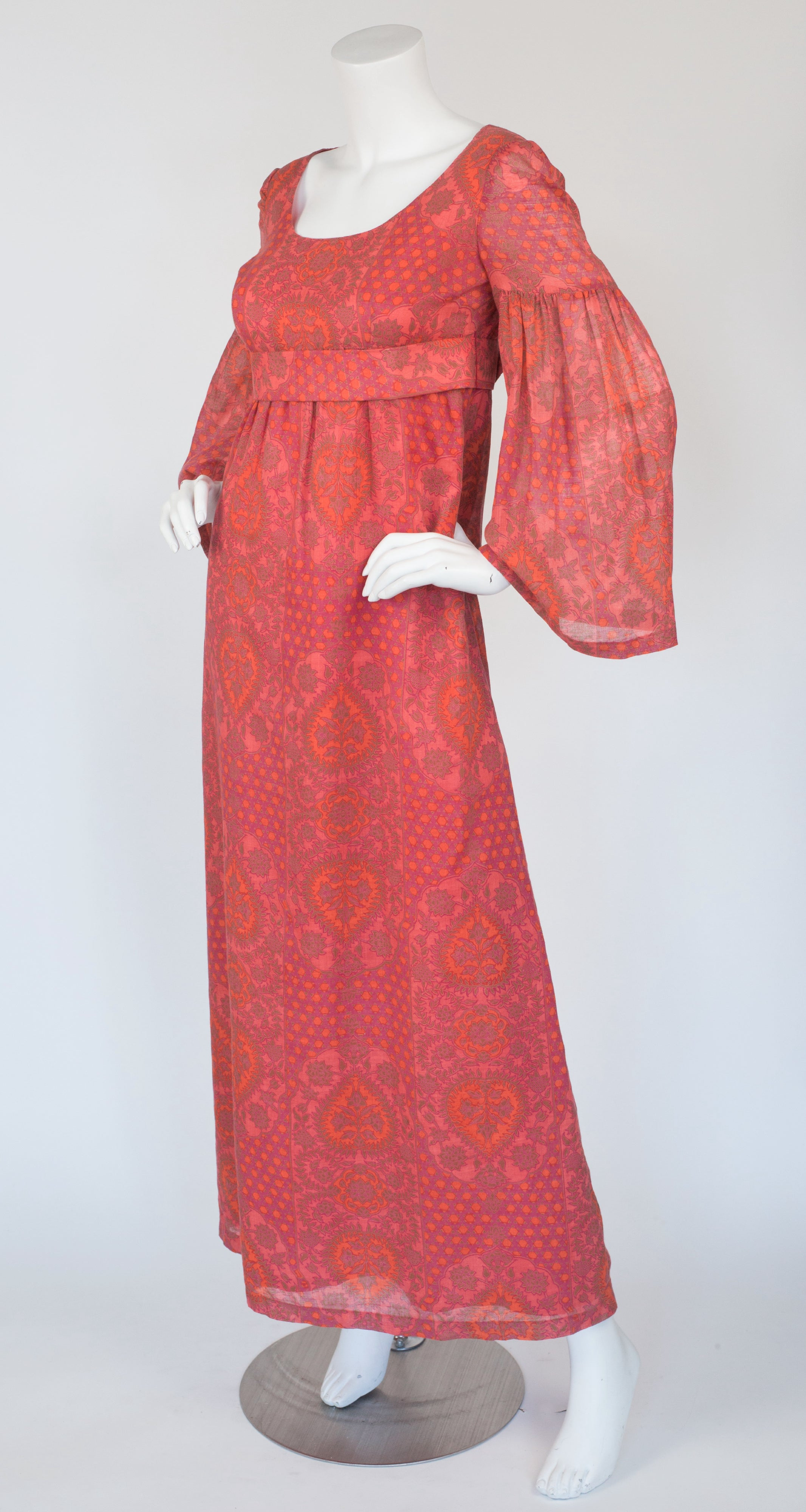 1970s French Pink Cotton Empire Waist Maxi Dress
