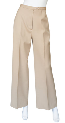 1970s Beige Wool High-Waisted Wide-Leg Trousers