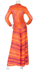 c. 1973 Iconic Orange Zig-Zag Knit Palazzo Two-Piece Set