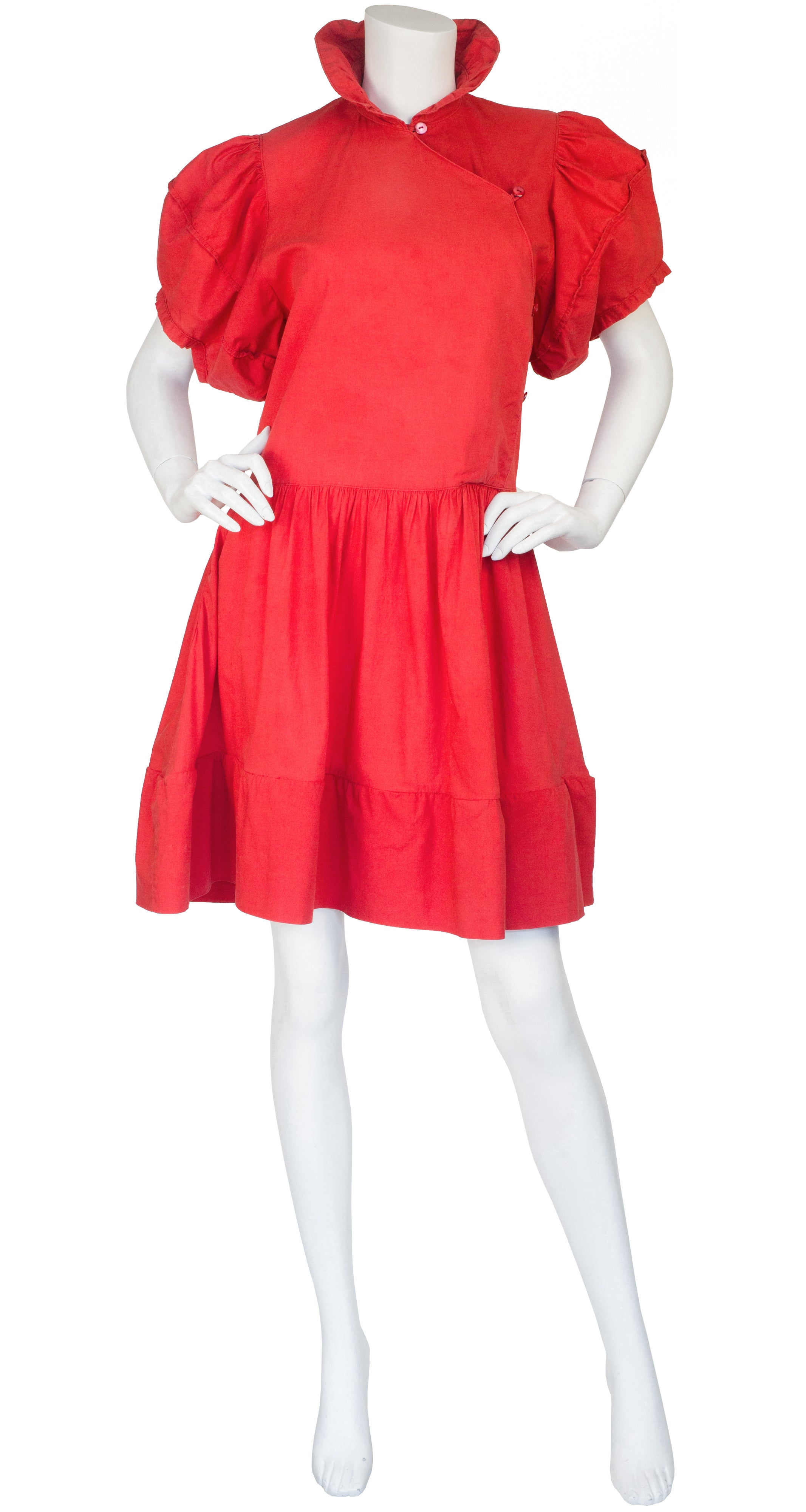 1981 Documented Red Cotton Puff Sleeve Dress