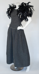 1980s Dramatic Feather Shoulder Black & White Gown