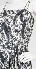 1950s White & Gray Paisley Cotton Dress