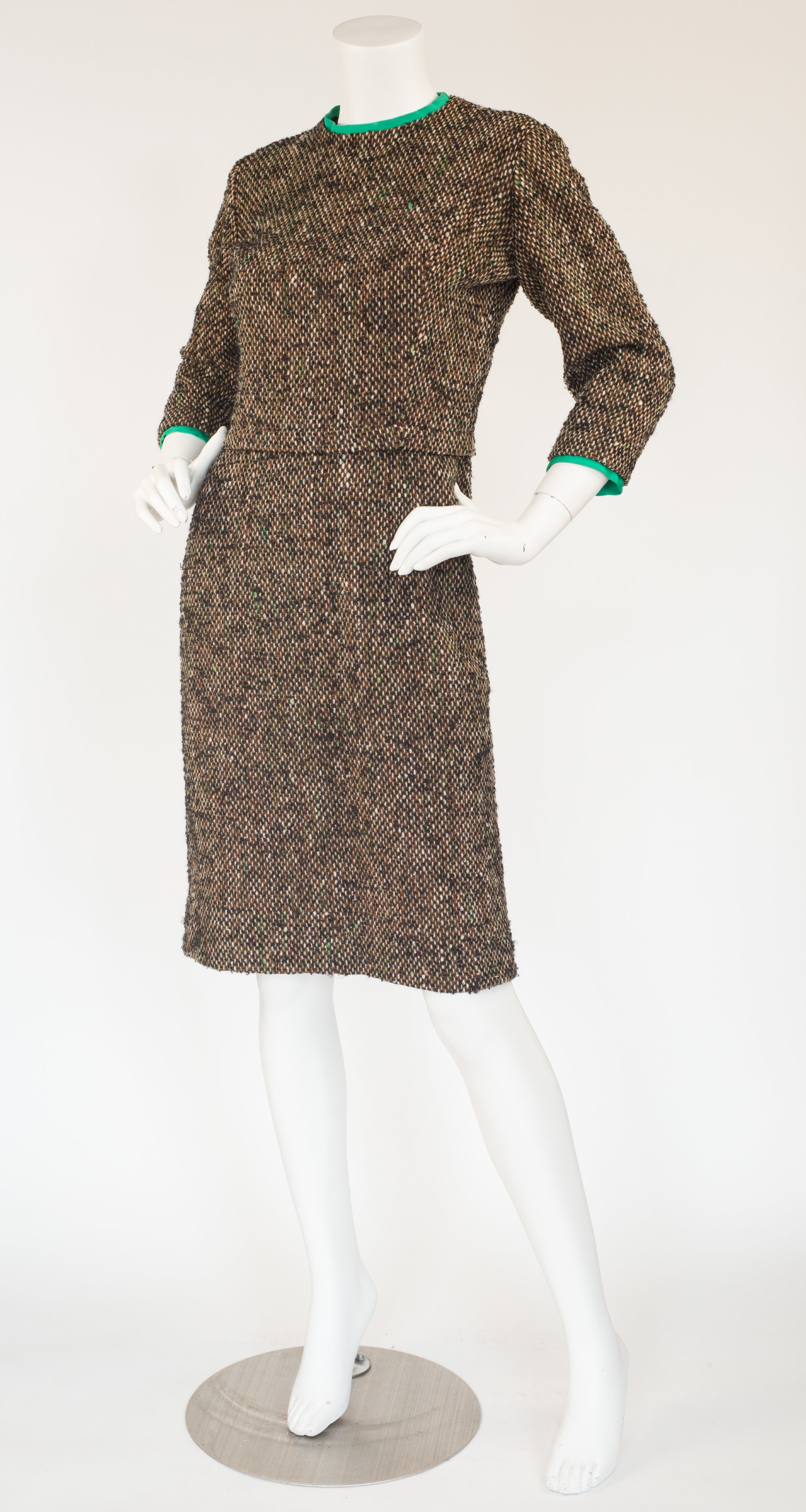 1960s French Couture Bouclé Day Dress