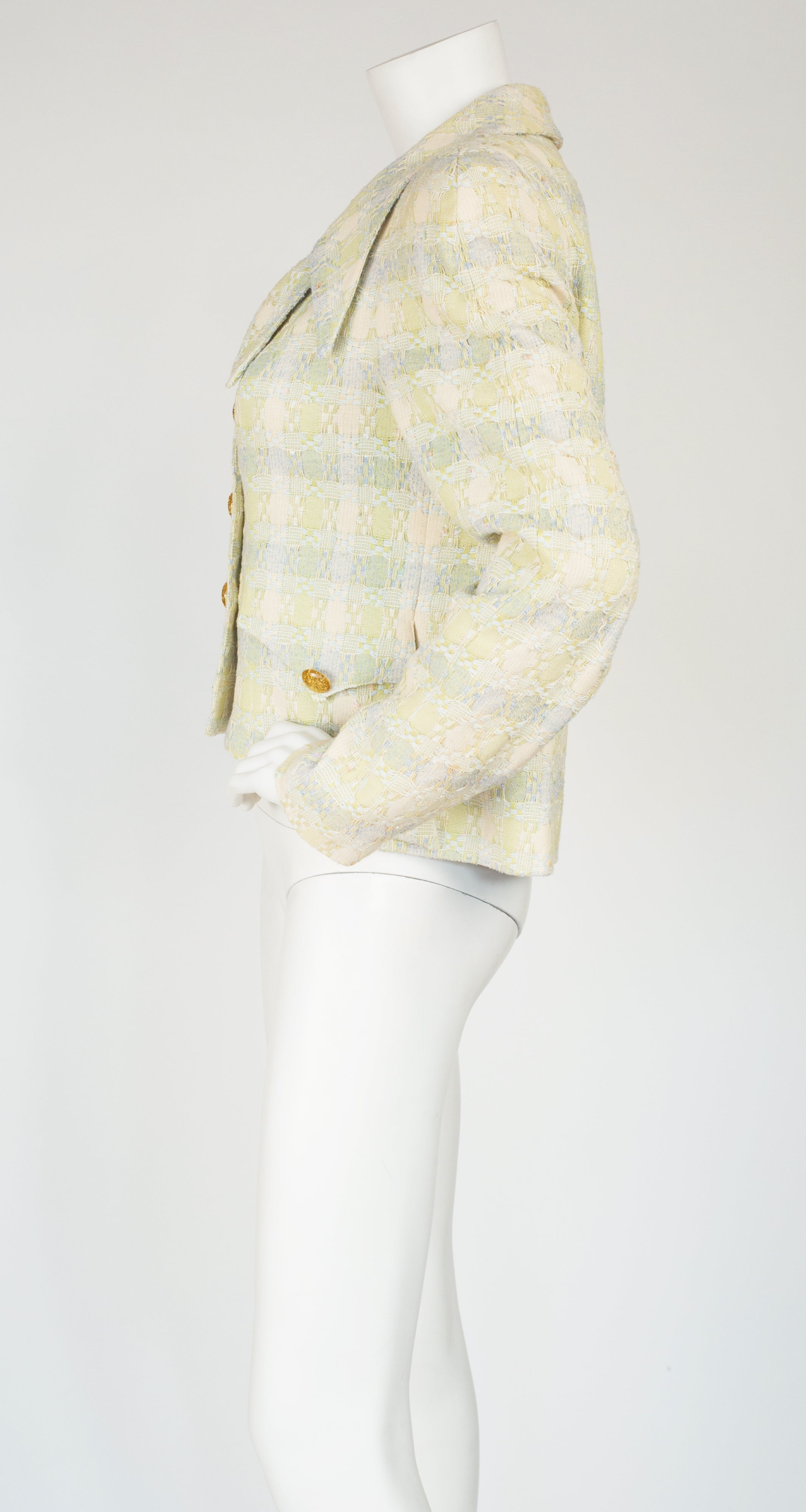 1990s Pastel Cotton Tweed Collared Jacket