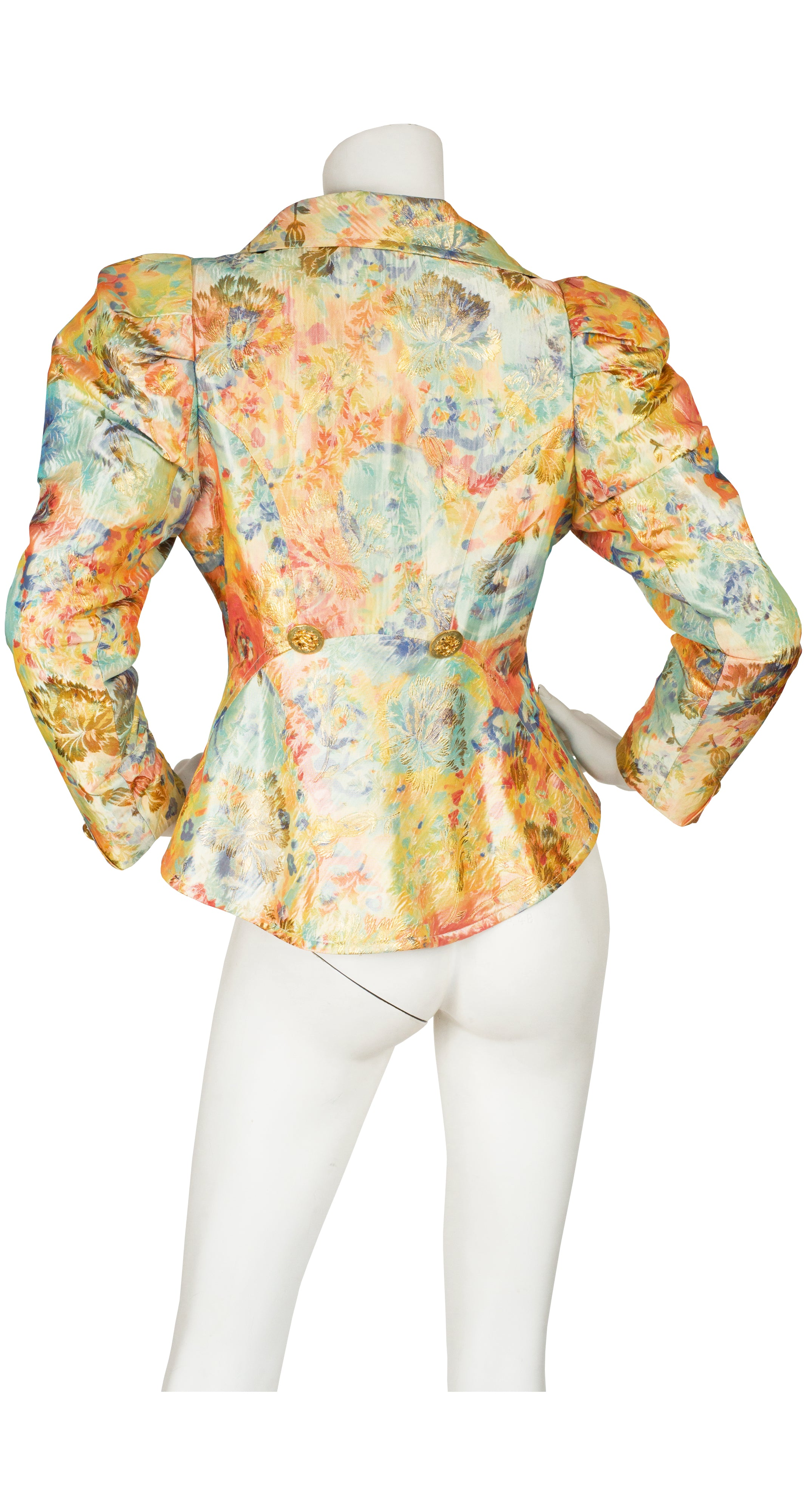 1990s Multi-Color Metallic Brocade Puff Shoulder Jacket