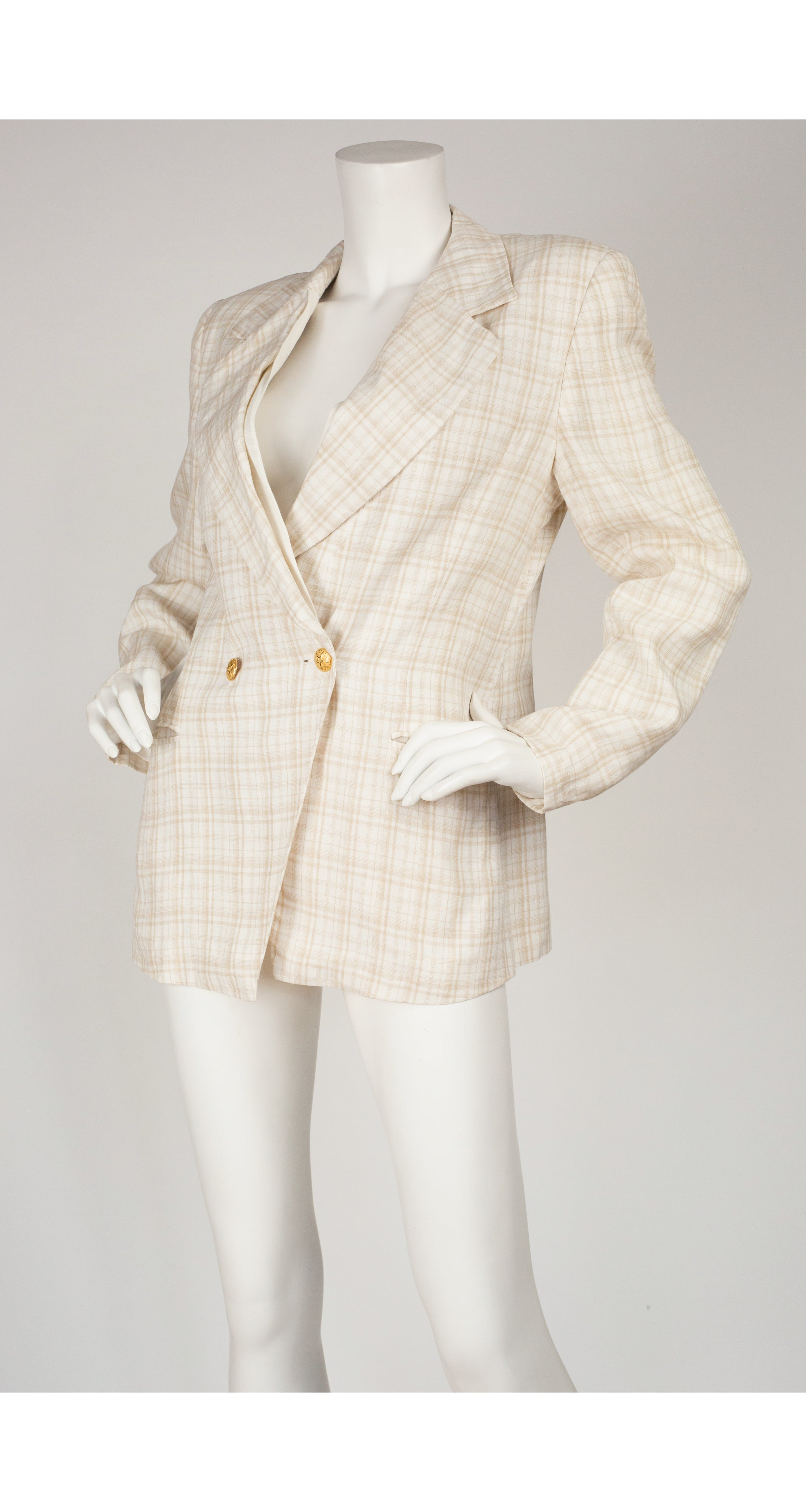 1990s Beige & White Plaid Linen Double-Breasted Blazer