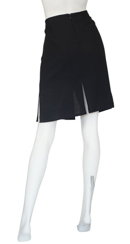 1990s Black Wool Slit High-Waisted Skirt
