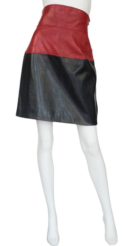 1983-84 F/W Runway Red & Black Leather High-Waisted Skirt