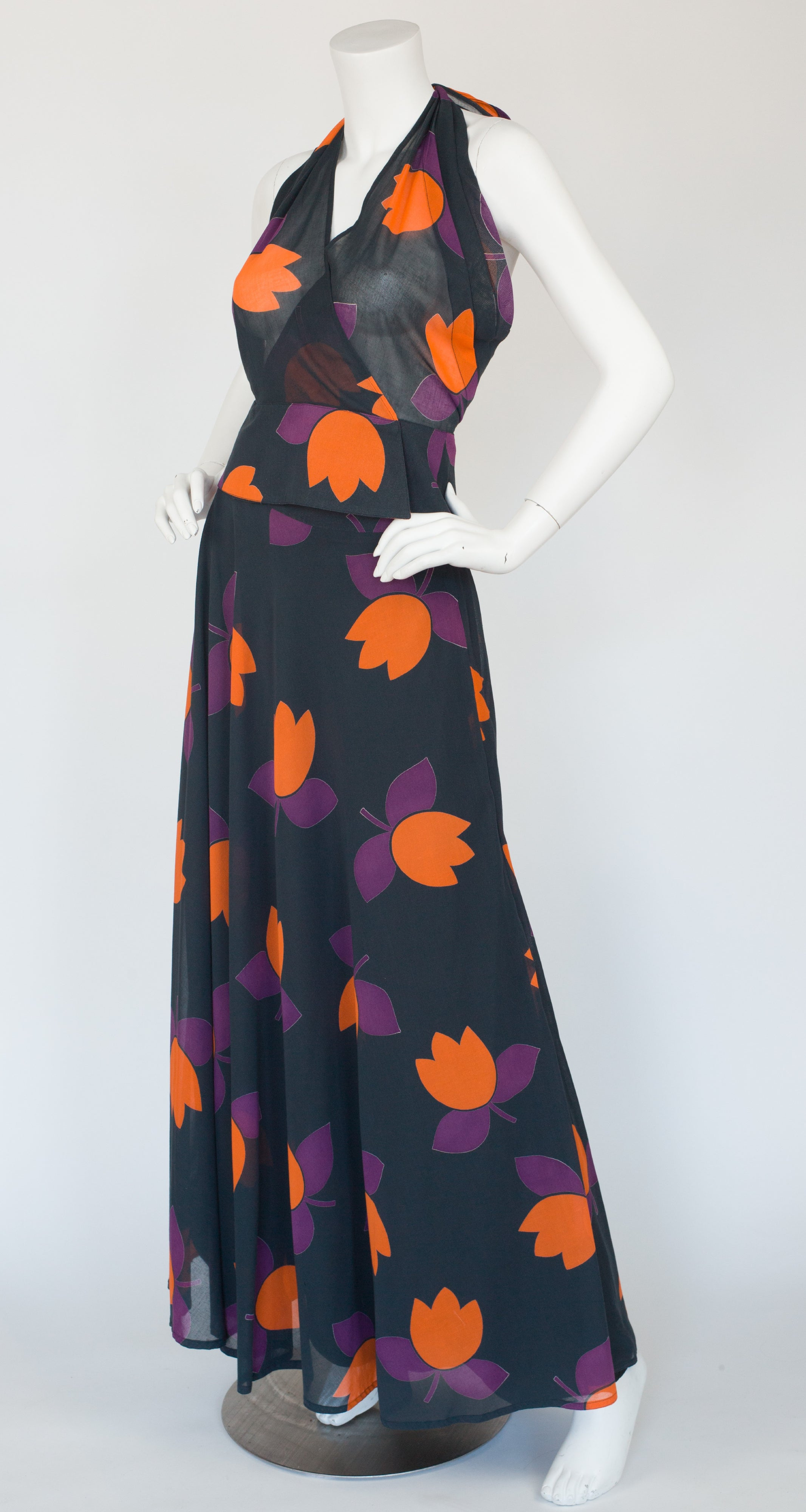 1978 Tulip Print Cotton Halter Top & Maxi Skirt Set