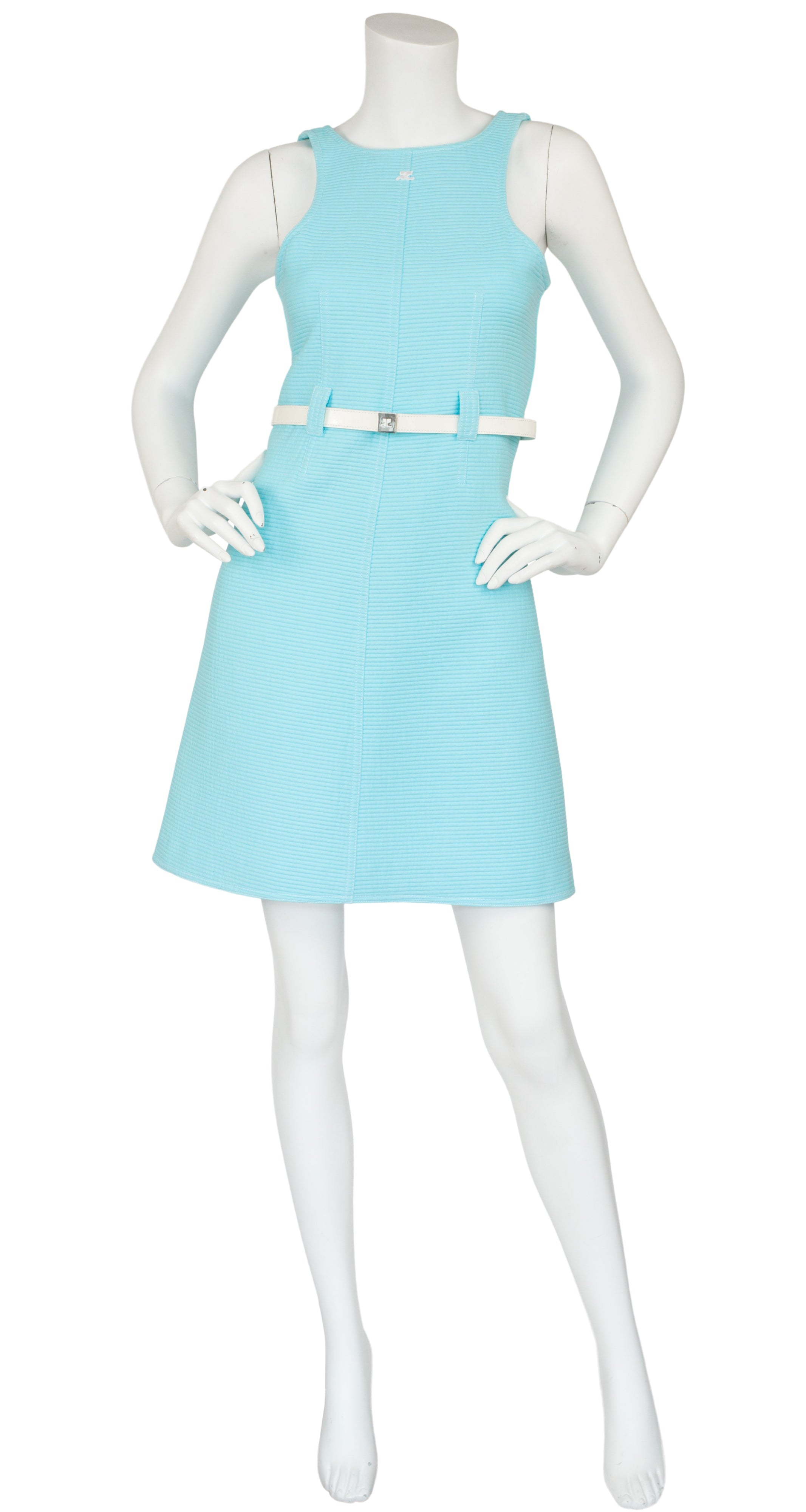 1990s does 1960s Space Age Baby Blue Cotton Mini Dress