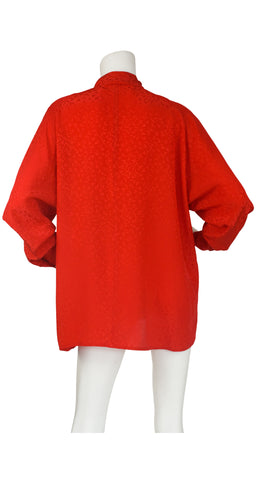 1980s Red Silk Ruffle Neck Blouse