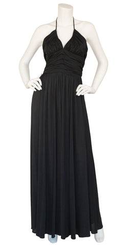 1970s Black Ruched Jersey Halter Gown