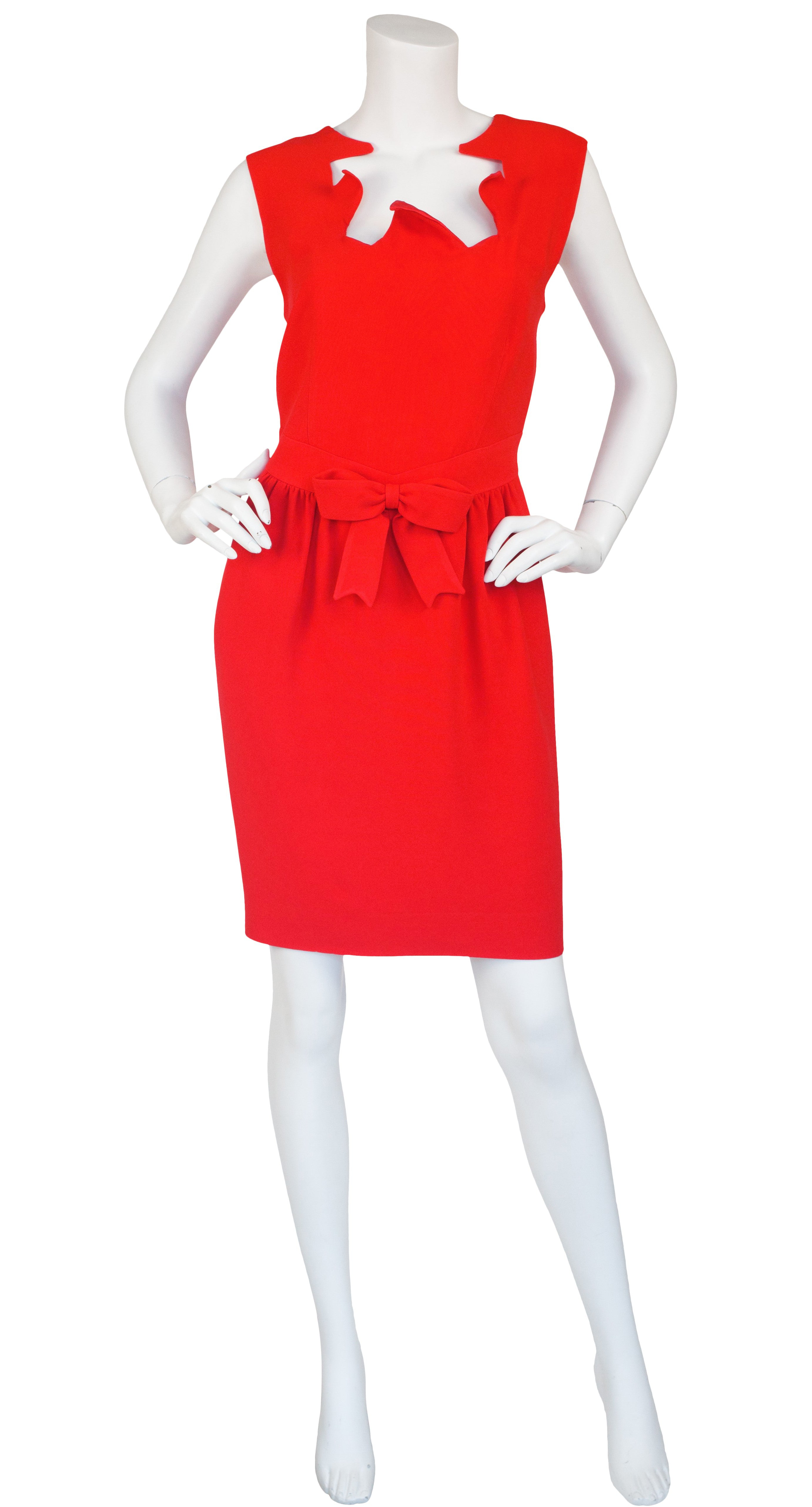 1990s Red Crêpe Bow Cocktail Dress