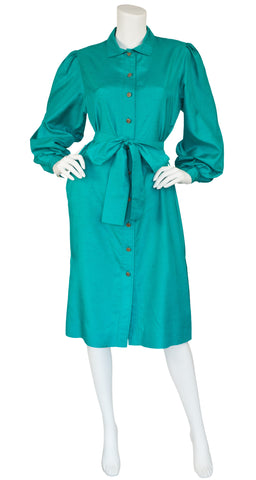 1980s Green Balloon Sleeve Shirt Dress
