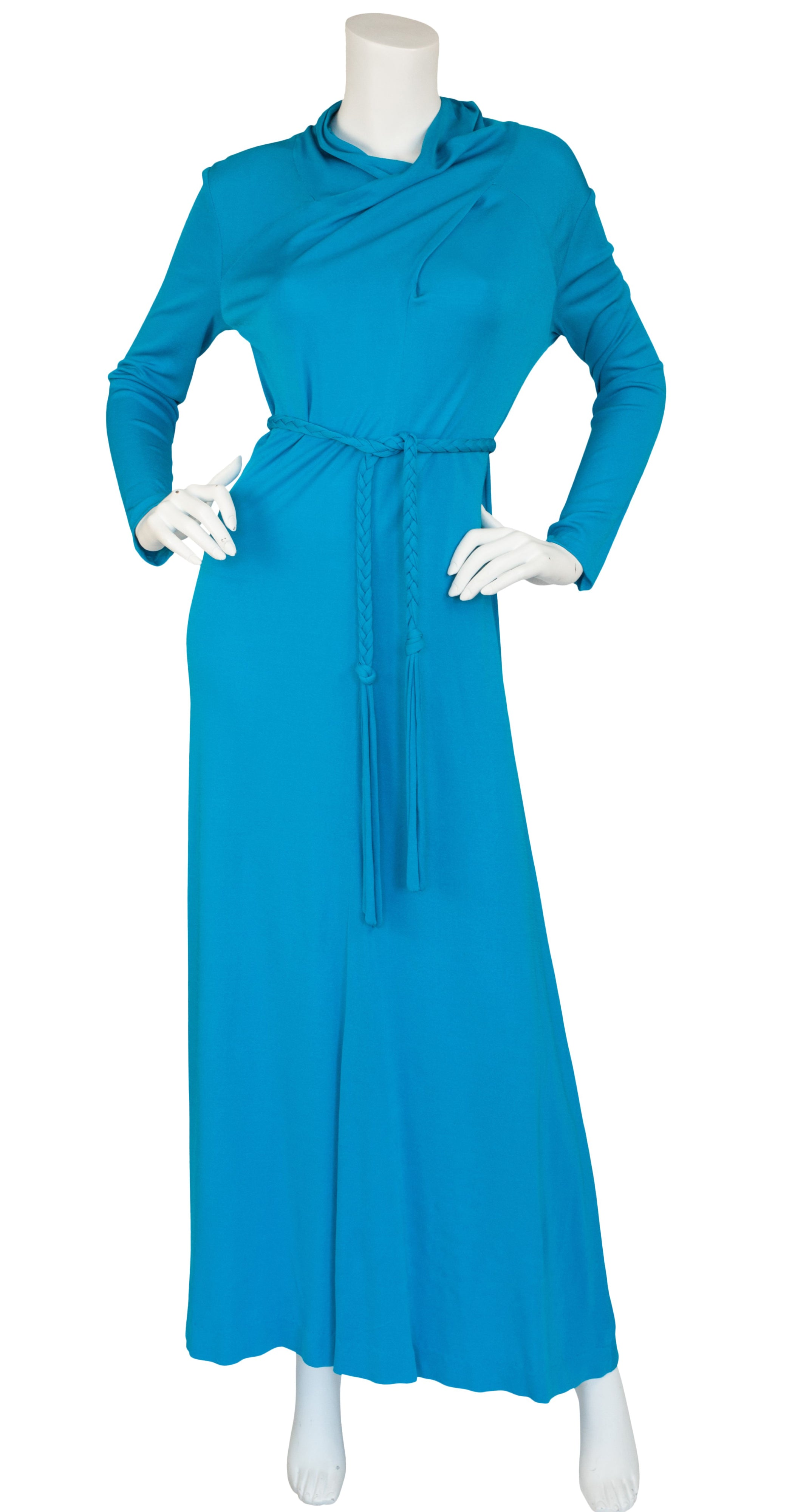 1970s Italian Blue Rayon Jersey Dress