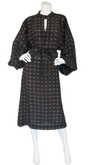 1970s Floral Black Rayon Billowing Sleeve Dress