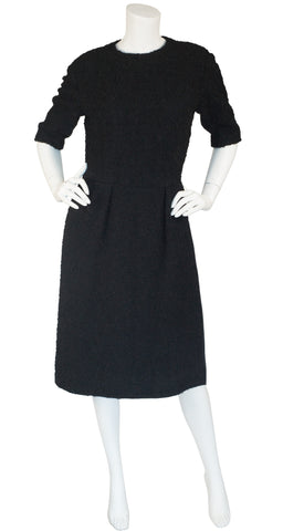 1960s Demi-Couture Black Bouclé Wool Dress