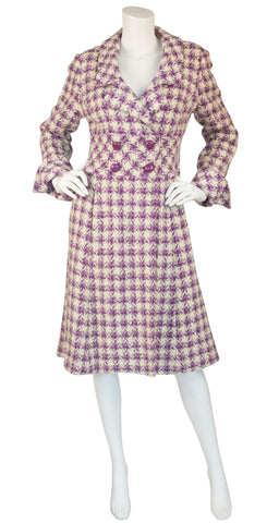 1960s Purple & Cream Houndstooth Wool Coat