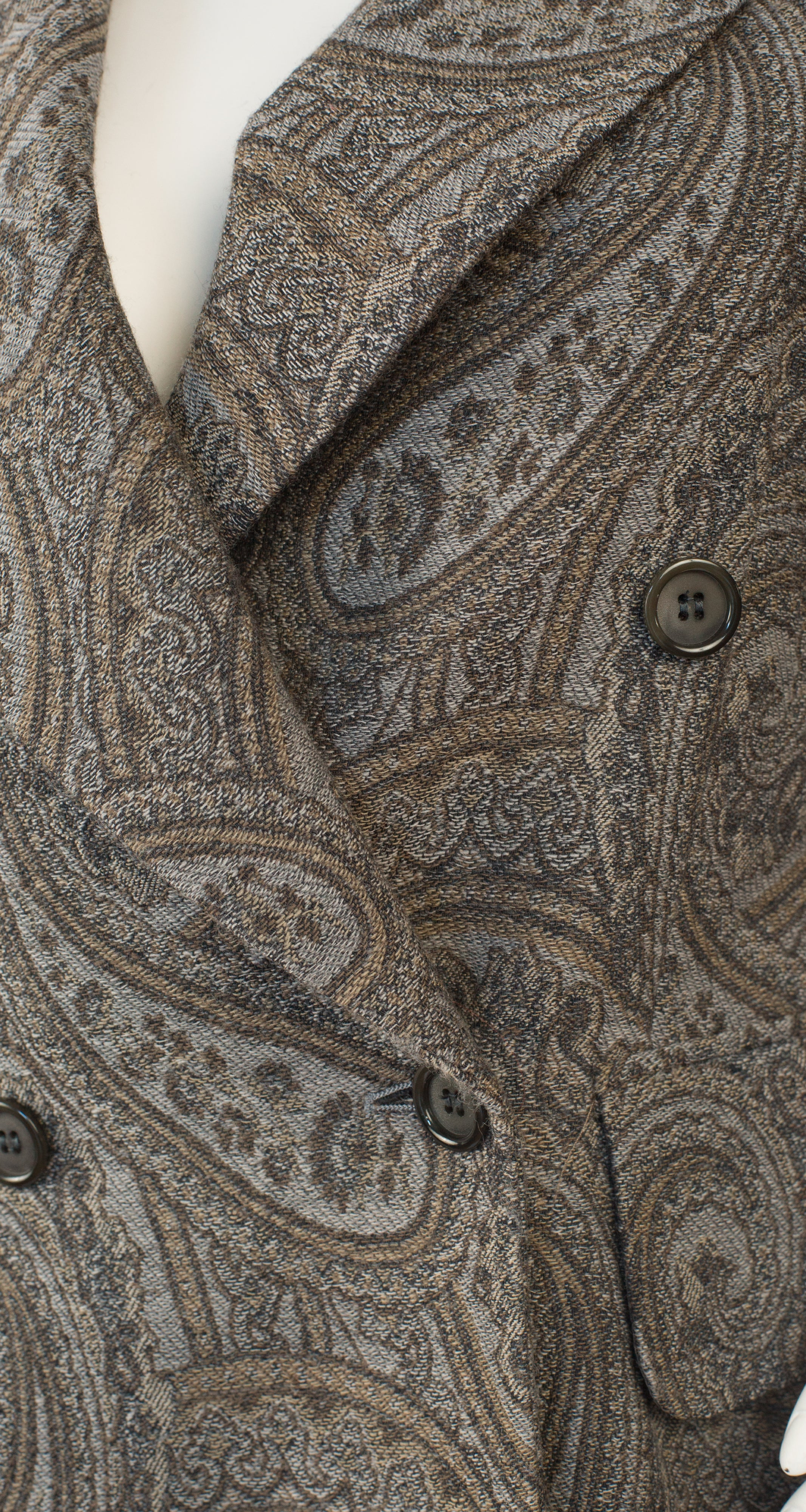 1980s Gray Paisley Double-Breasted Blazer