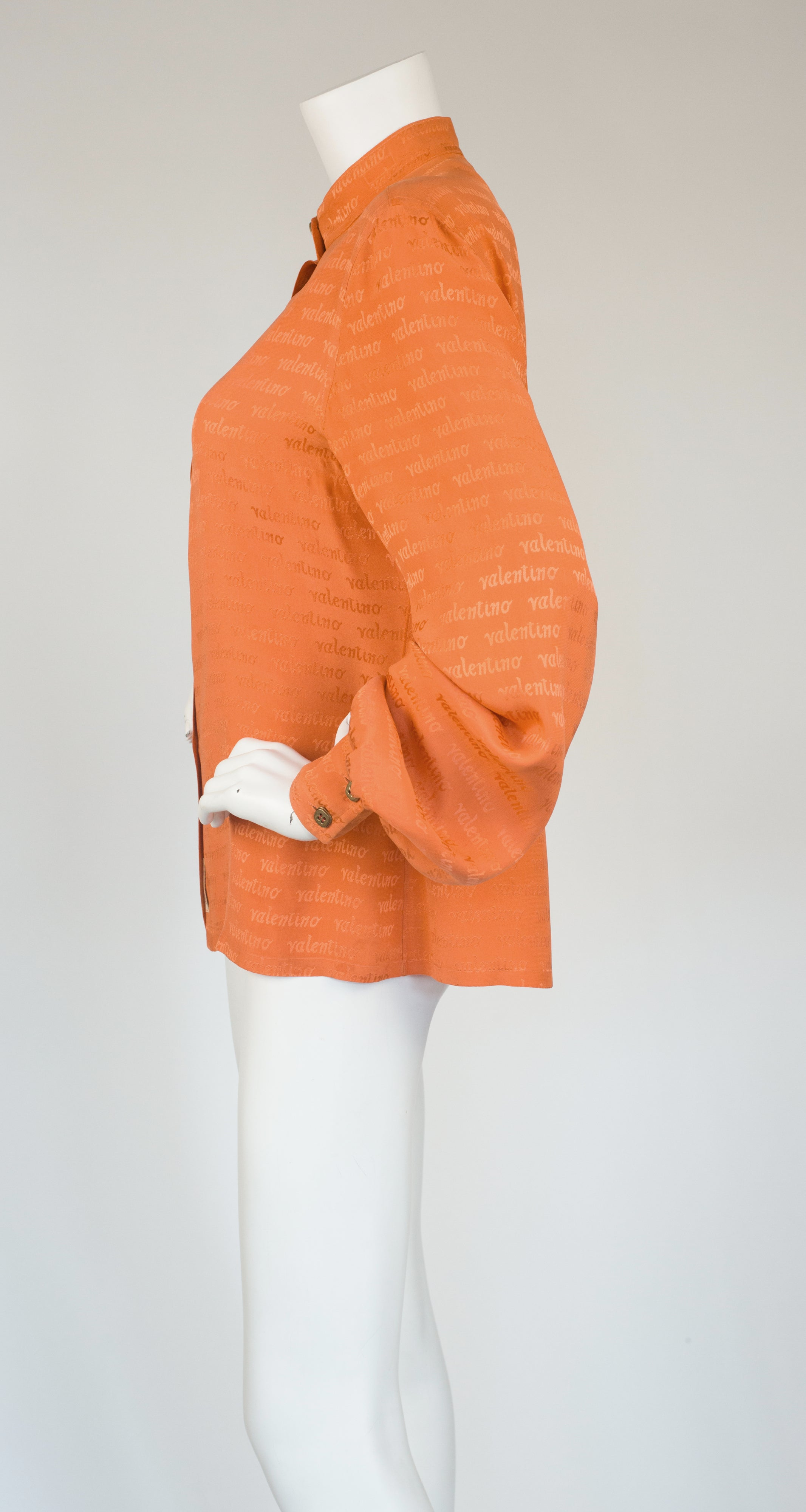 1960s Orange Signature Jacquard Silk Balloon Sleeve Blouse