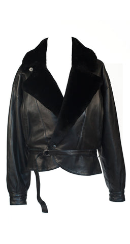 1980s Men's Black Fur Collar Leather Jacket