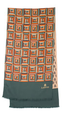 1970s Men's Geometric & Monogram Double-Faced Silk Scarf