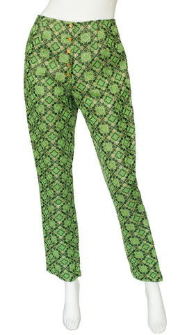 "1990s ""Times Seven"" Green Metallic Brocade Trousers"