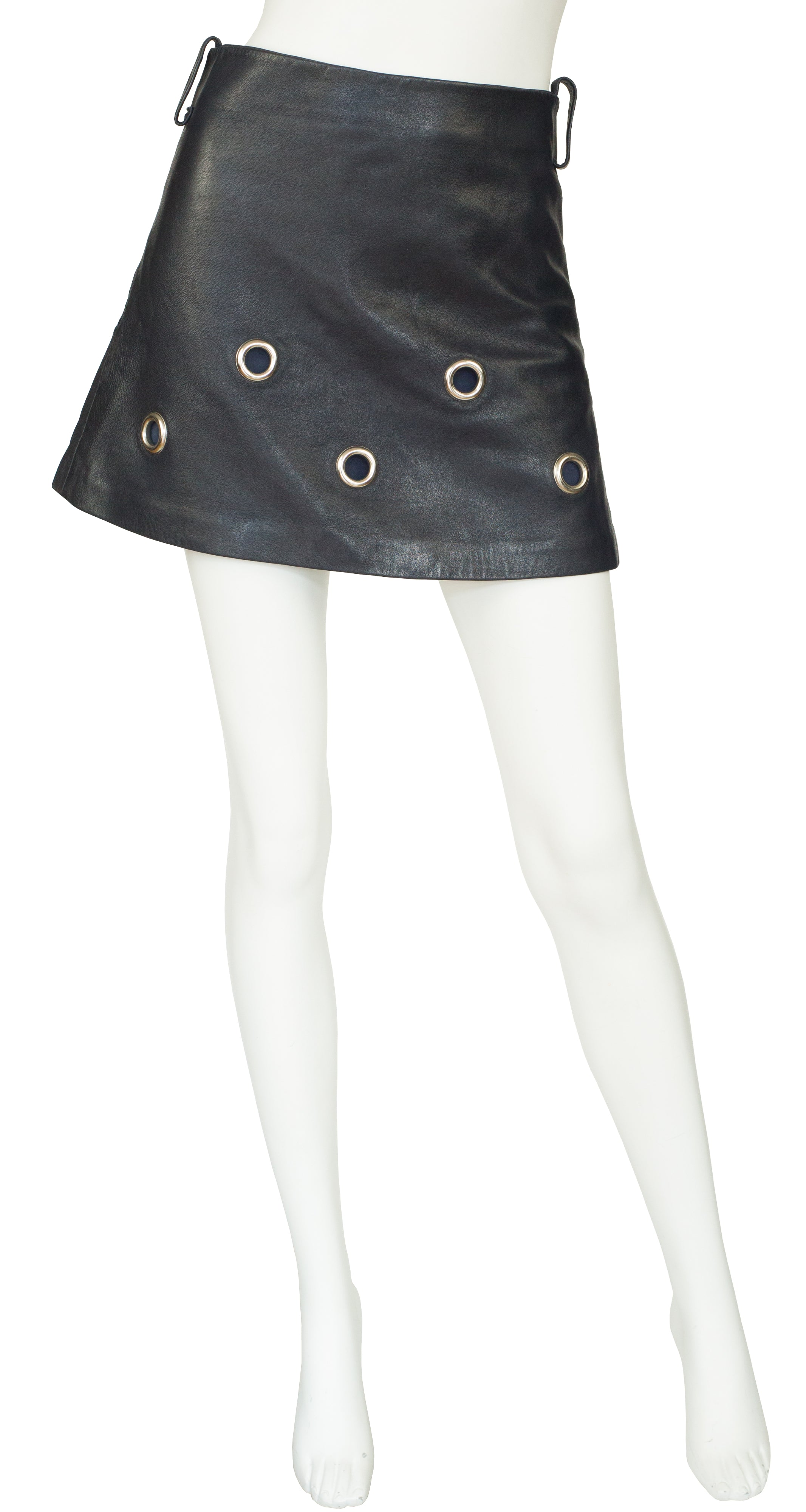 1969 Documented Black Leather Grommet Mini Skirt