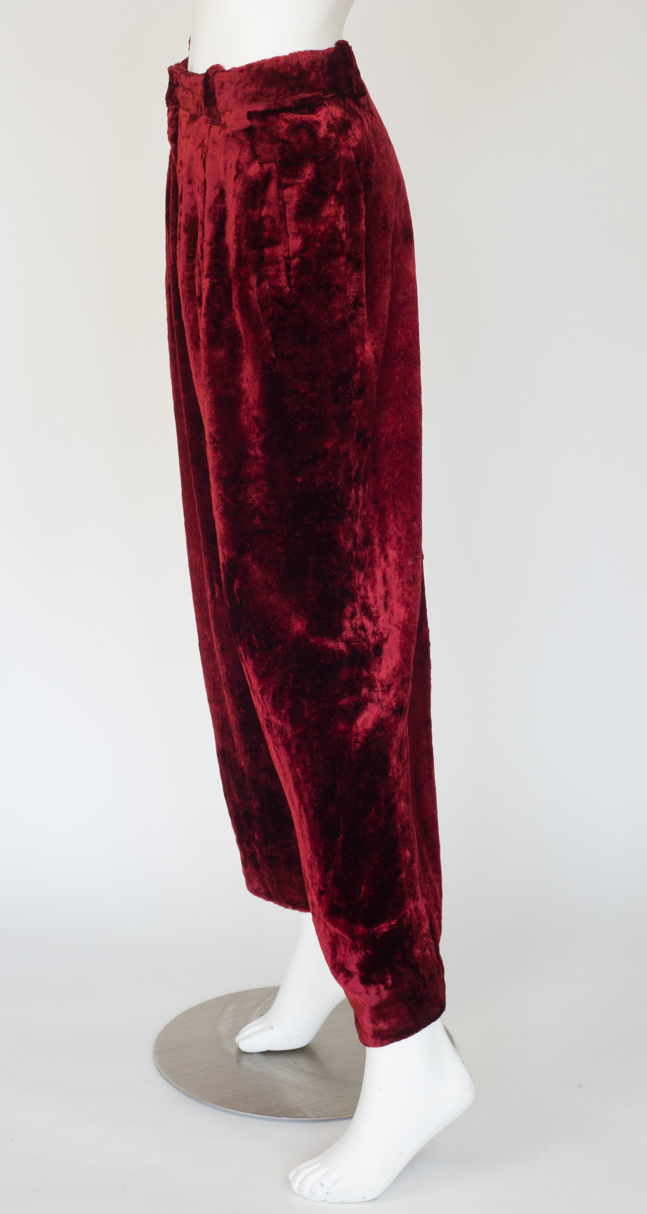 1990s Burgundy Crushed Velvet Wide-Leg Trousers