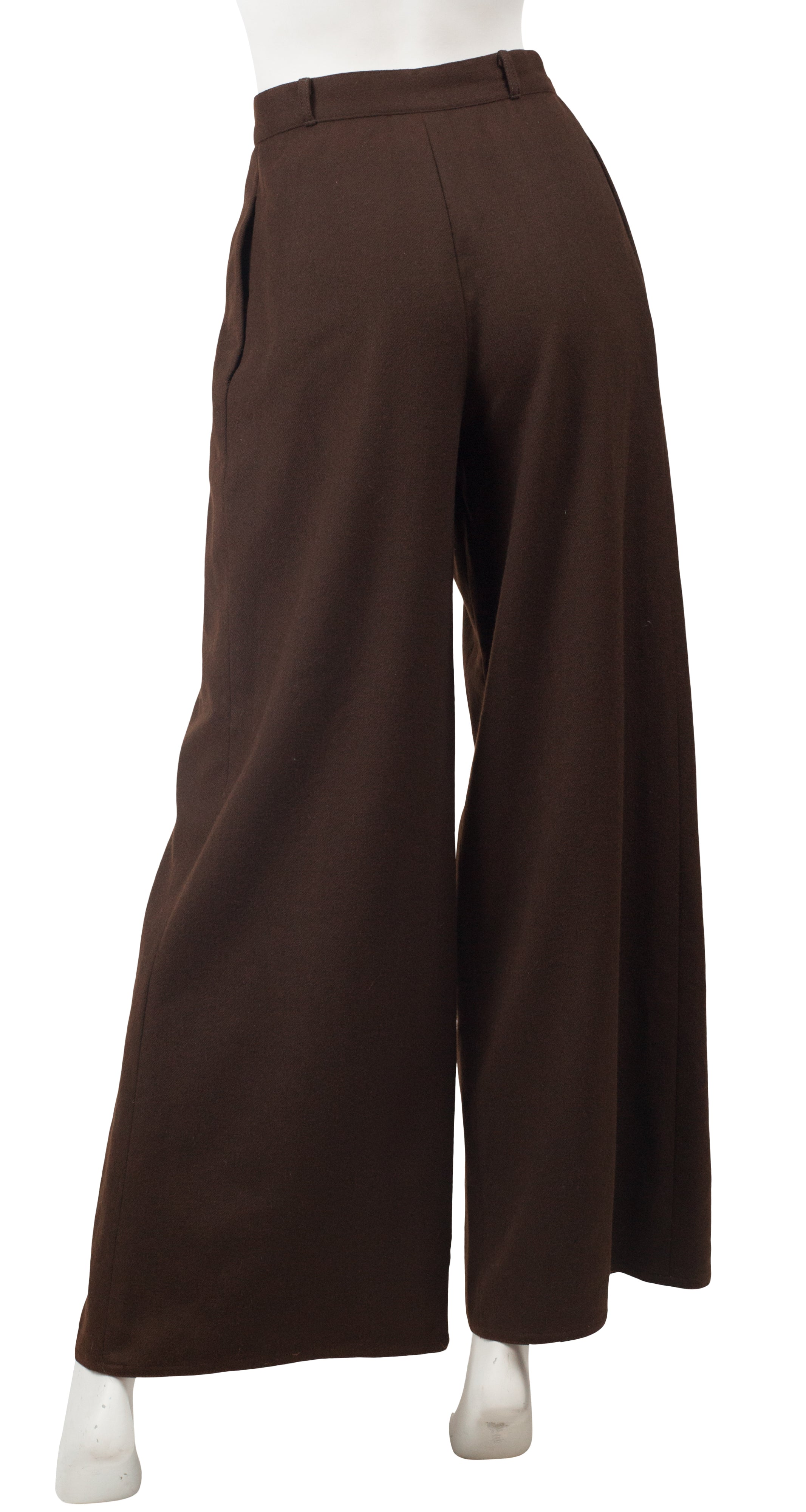 1970s Beene Bag Brown Wool High-Waisted Wide Leg Trousers