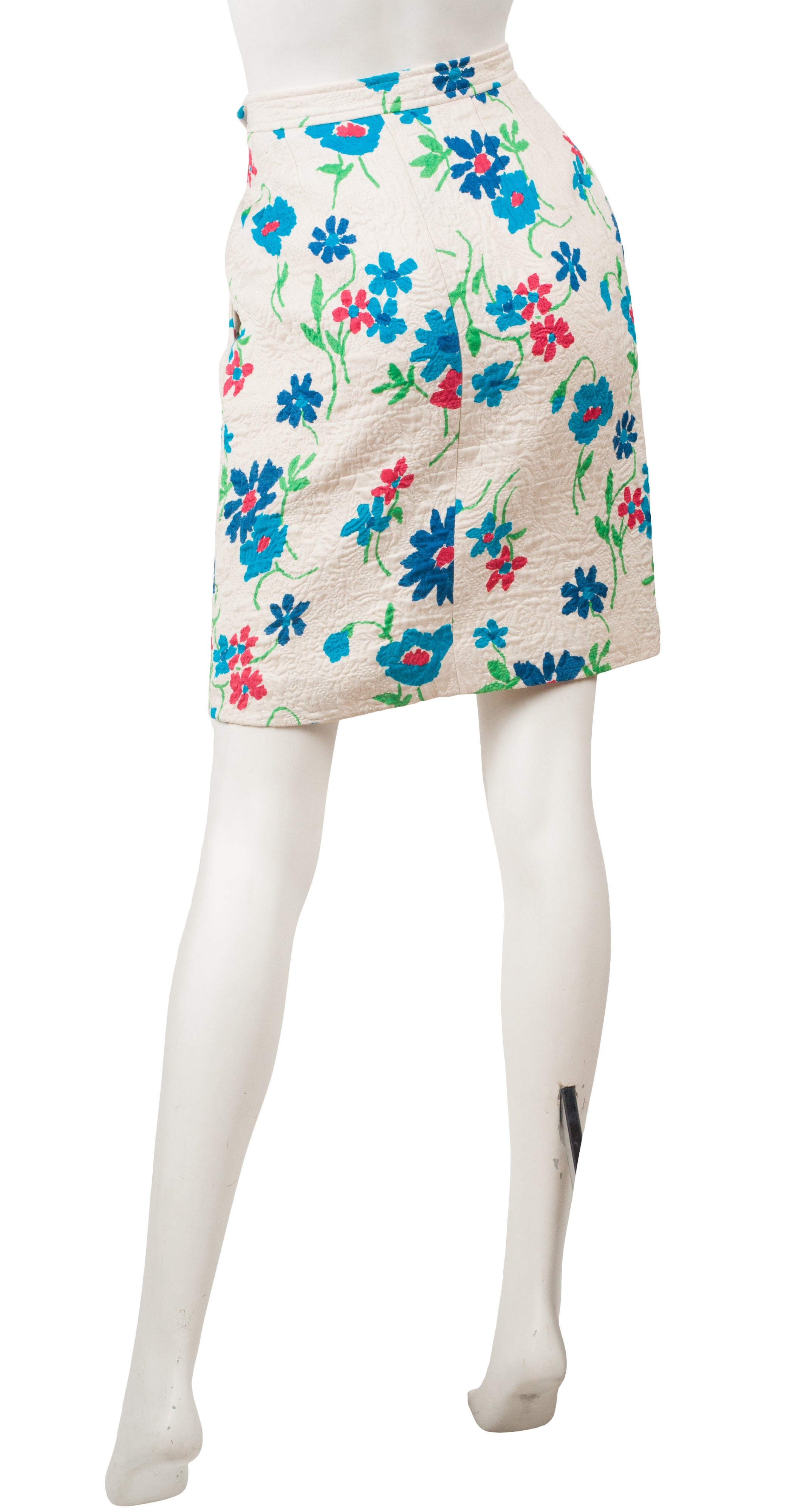1990s Floral White Quilted Cotton & Wool Pencil Skirt
