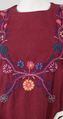 1960s Embroidered Burgundy Heavy-Weight Cotton Caftan