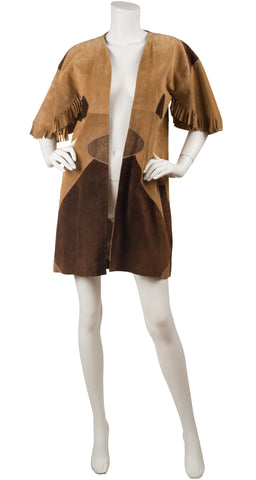 1970s Tan & Brown Suede Fringe Sleeve Jacket