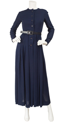1970s Navy Silk Chiffon Collared Tuxedo Dress