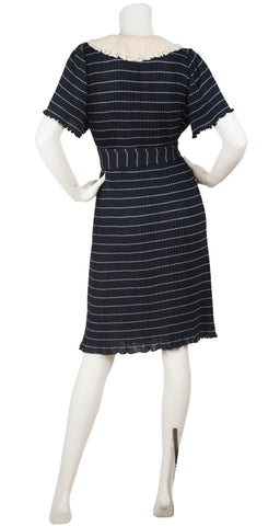 1970s Miss V Ruffle Collar Striped Navy Sweater Dress