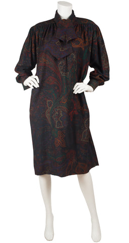1980s Paisley Wool Ascot Tie Sack Dress