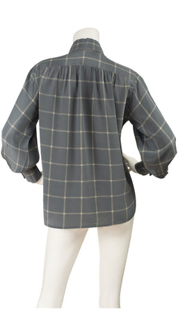 1970s Plaid Slate Gray Silk Balloon Sleeve Blouse