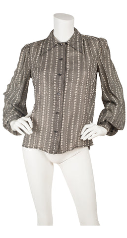 1970s Floral Silver & Gold Lurex Balloon Sleeve Blouse