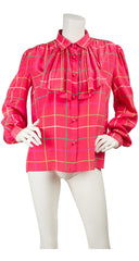 1980s Pink Plaid Accordion Pleat Jabot Blouse