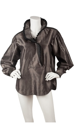 1983 Documented Silver Silk Taffeta Ruffle Collar Blouse