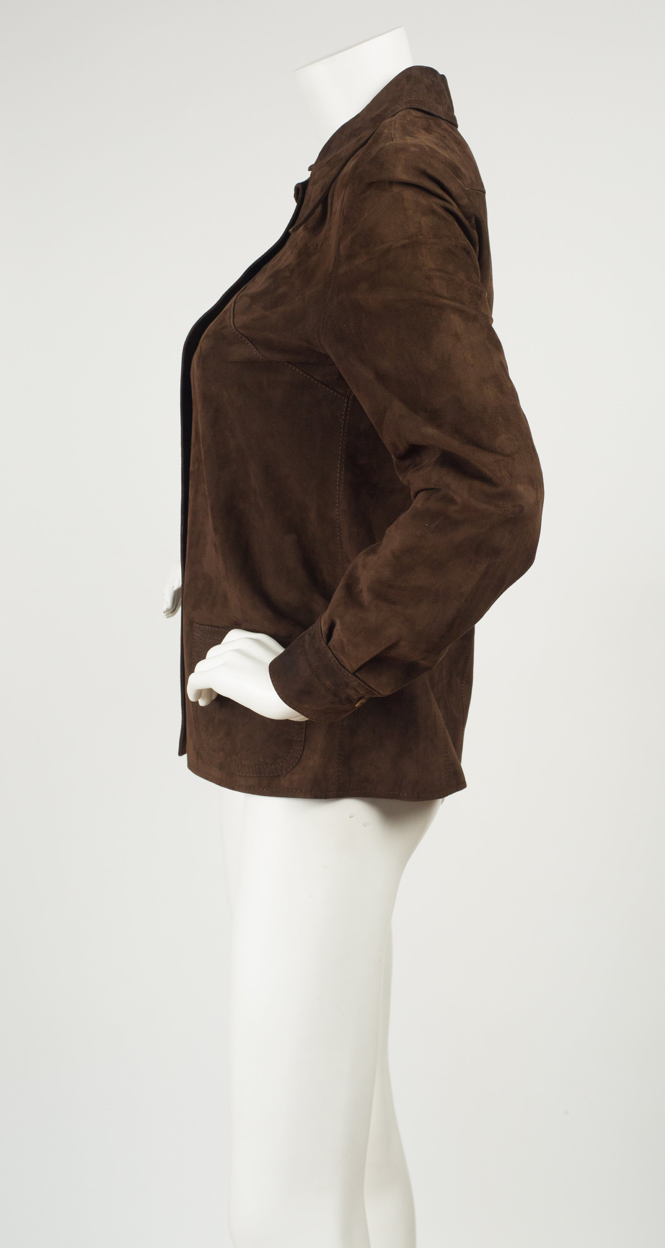 1970s Logo Snap Brown Suede Collared Jacket