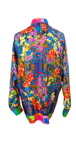 1990s Men's Floral Silk Twill Button Down Shirt