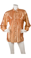 1990s Orange Silk Lamé Collared Button-Up Blouse