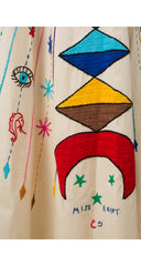 Miss Egypt 1970s Psychedelic Embroidered Cotton Caftan