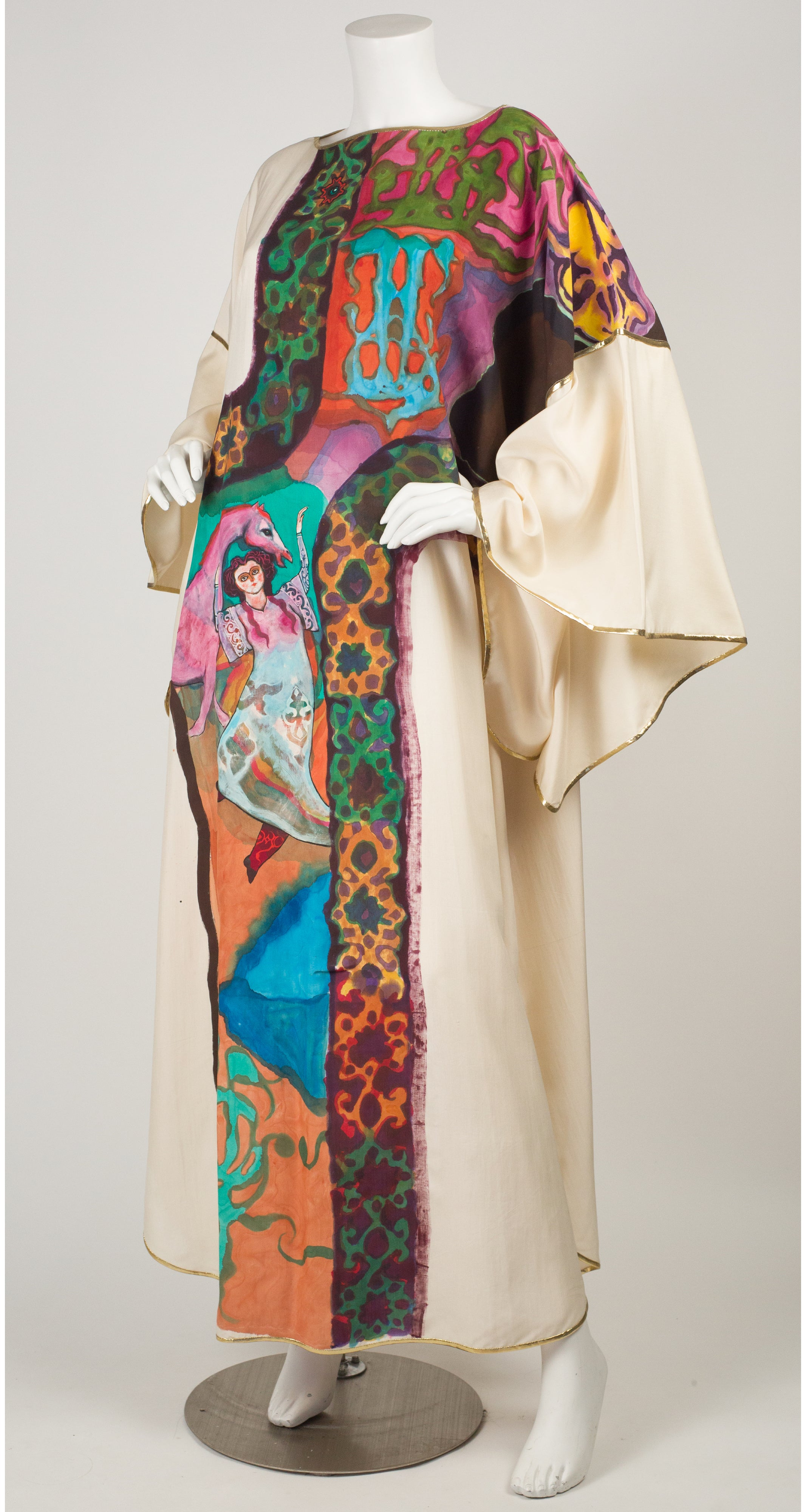 1980s Wearable Art Hand-Painted Cream Silk Caftan