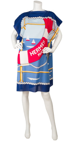 1980s Nautical Cotton Beach Pareo Dress