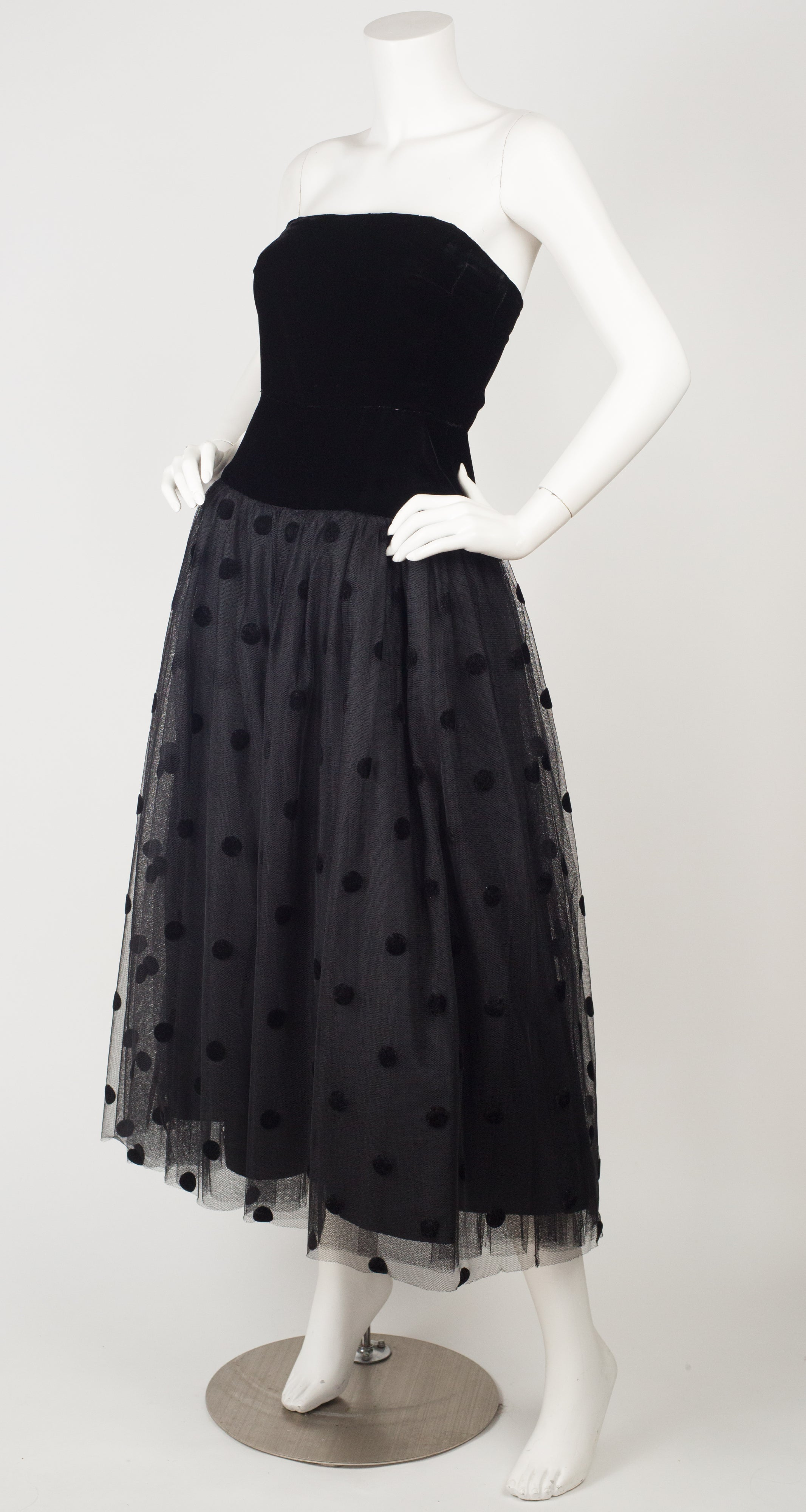 1980s Ballerina Black Tulle & Velvet Strapless Evening Dress