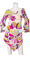 1960s Floral Geometric Silk Handkerchief Top