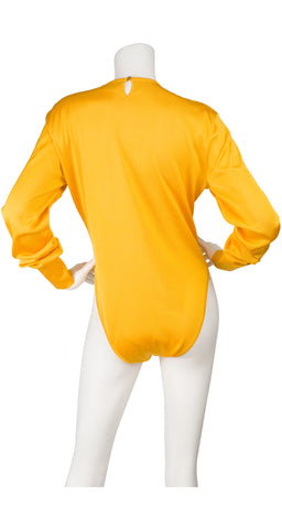 1980s Yellow Silk Knit Long Sleeve Bodysuit